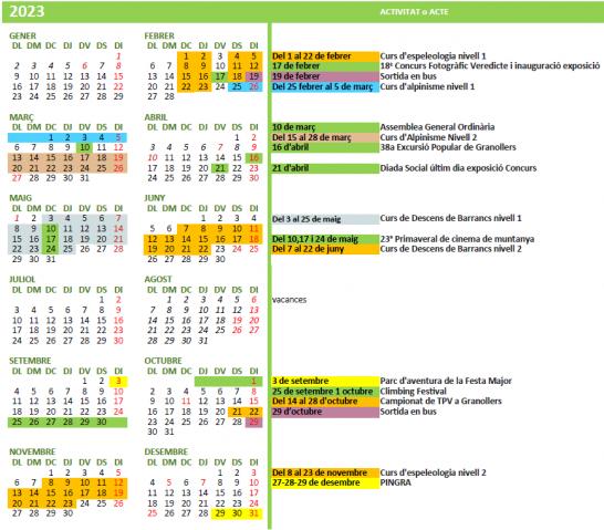 calendari d'activitats 2018